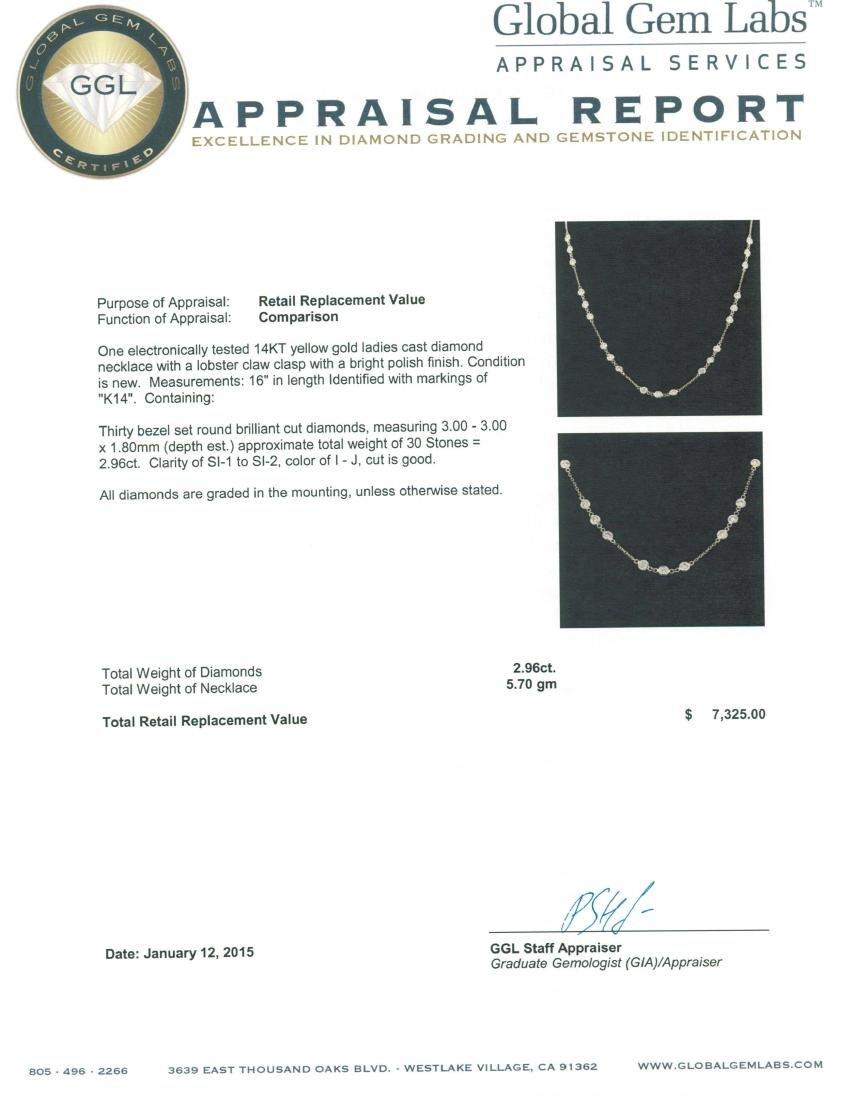 14KT Yellow Gold 2.96 ctw Diamond Necklace - 4
