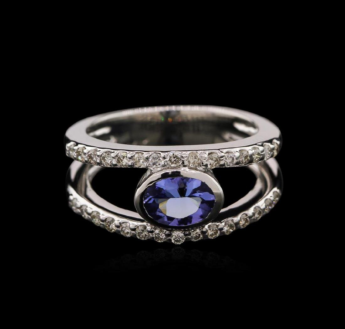 0.74 ctw Tanzanite and Diamond Ring - 14KT White Gold - 2