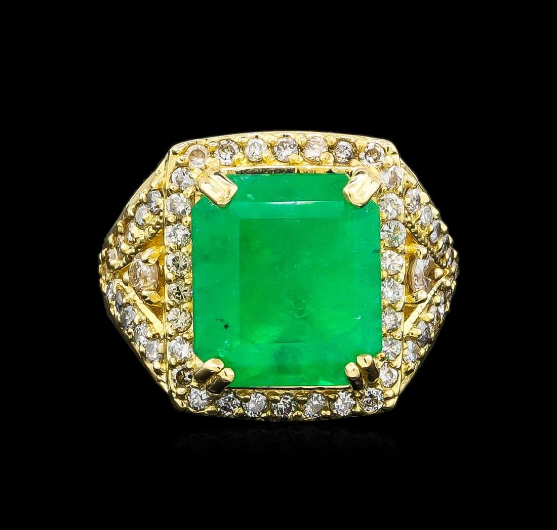 14KT Yellow Gold 9.19 ctw Emerald and Diamond Ring - 2