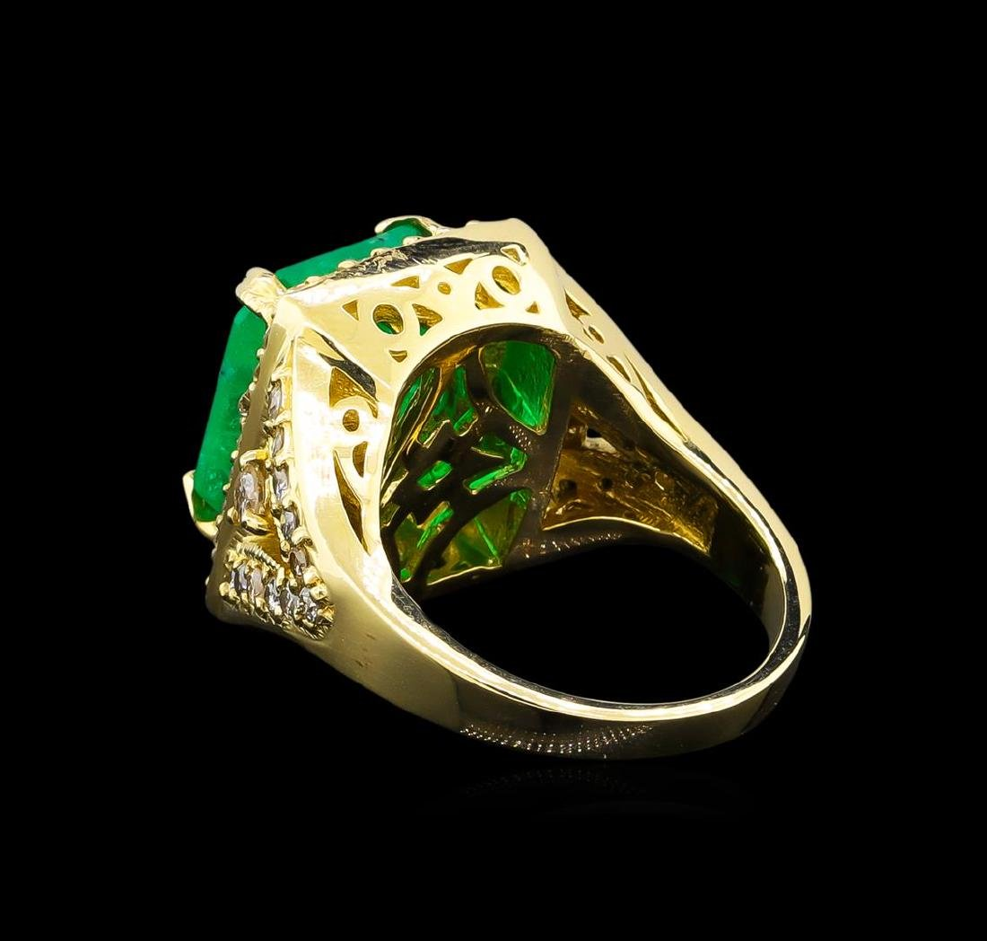 14KT Yellow Gold 9.19 ctw Emerald and Diamond Ring - 3