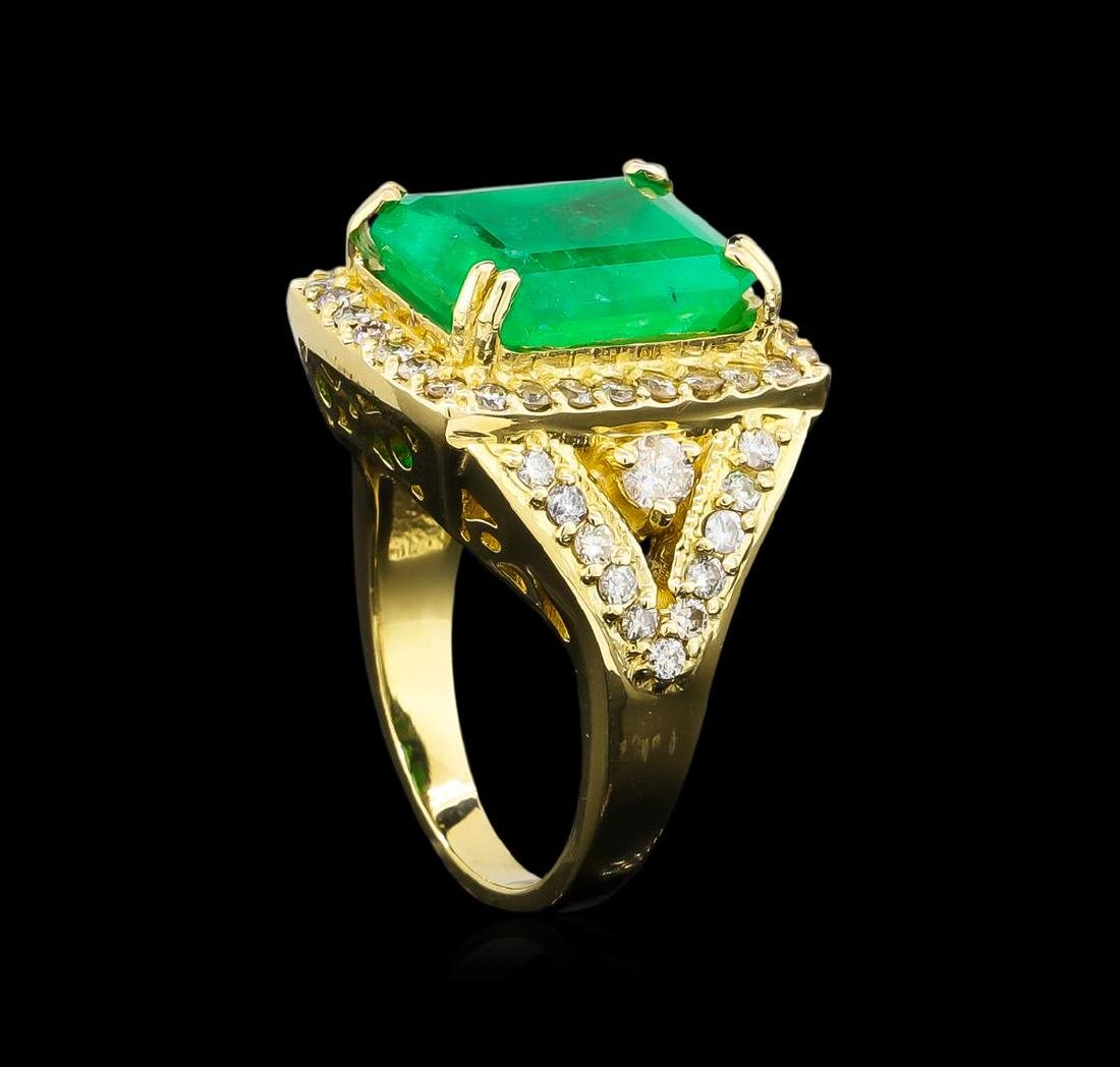 14KT Yellow Gold 9.19 ctw Emerald and Diamond Ring - 4