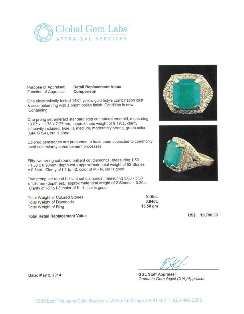 14KT Yellow Gold 9.19 ctw Emerald and Diamond Ring - 5