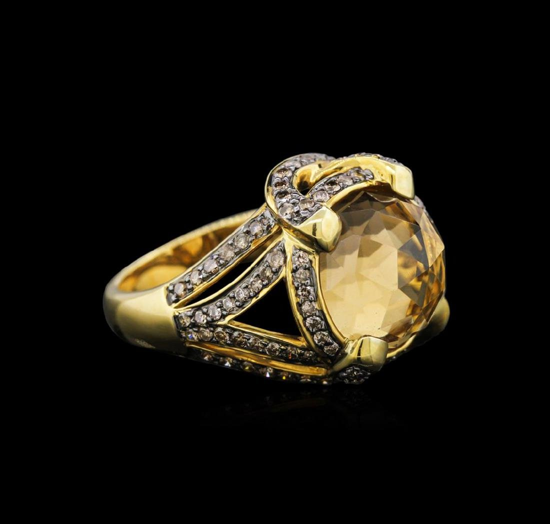 18KT Yellow Gold 7.48 ctw Citrine and Brown Diamond