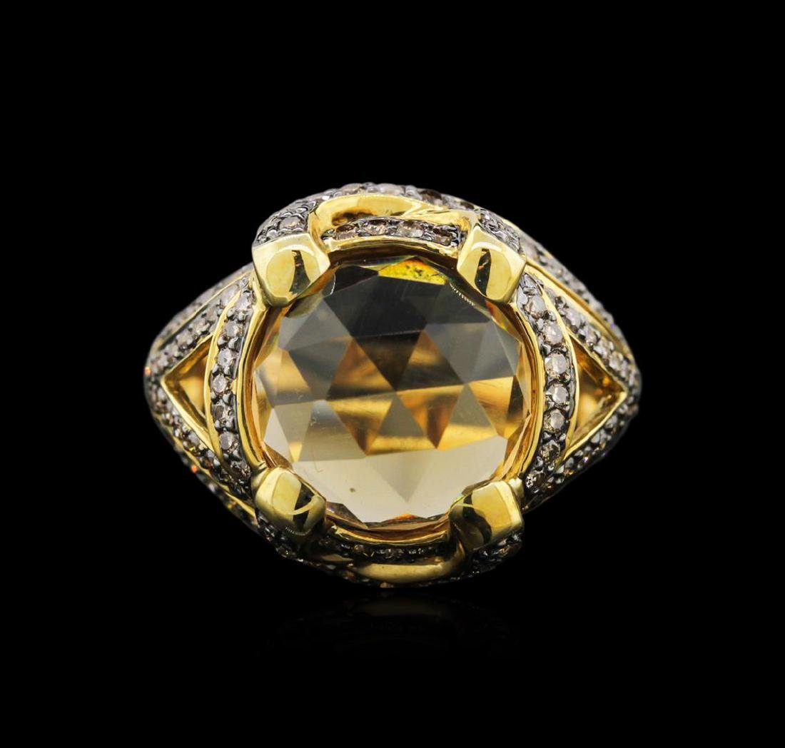 18KT Yellow Gold 7.48 ctw Citrine and Brown Diamond - 2