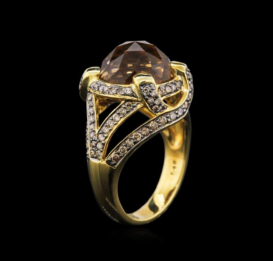 18KT Yellow Gold 7.48 ctw Citrine and Brown Diamond - 3
