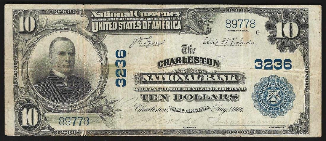1902 $10 Charleston West Wirginia National Currency