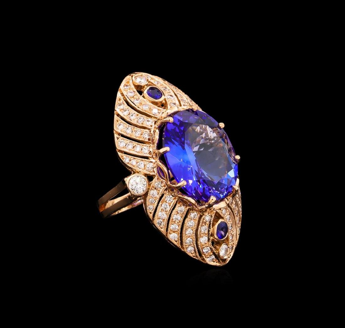 15.02 ctw Tanzanite, Sapphire and Diamond Ring - 14KT