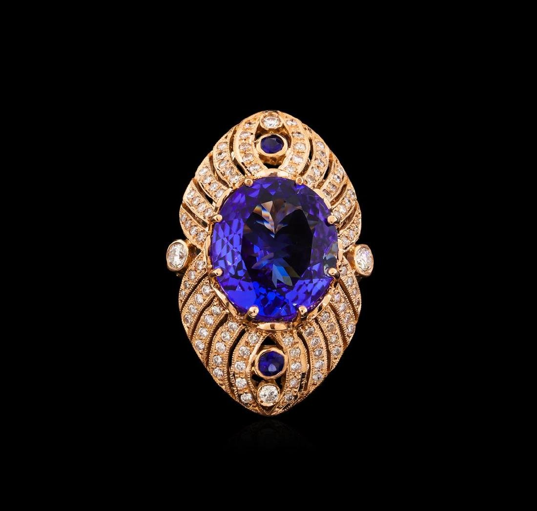 15.02 ctw Tanzanite, Sapphire and Diamond Ring - 14KT - 2