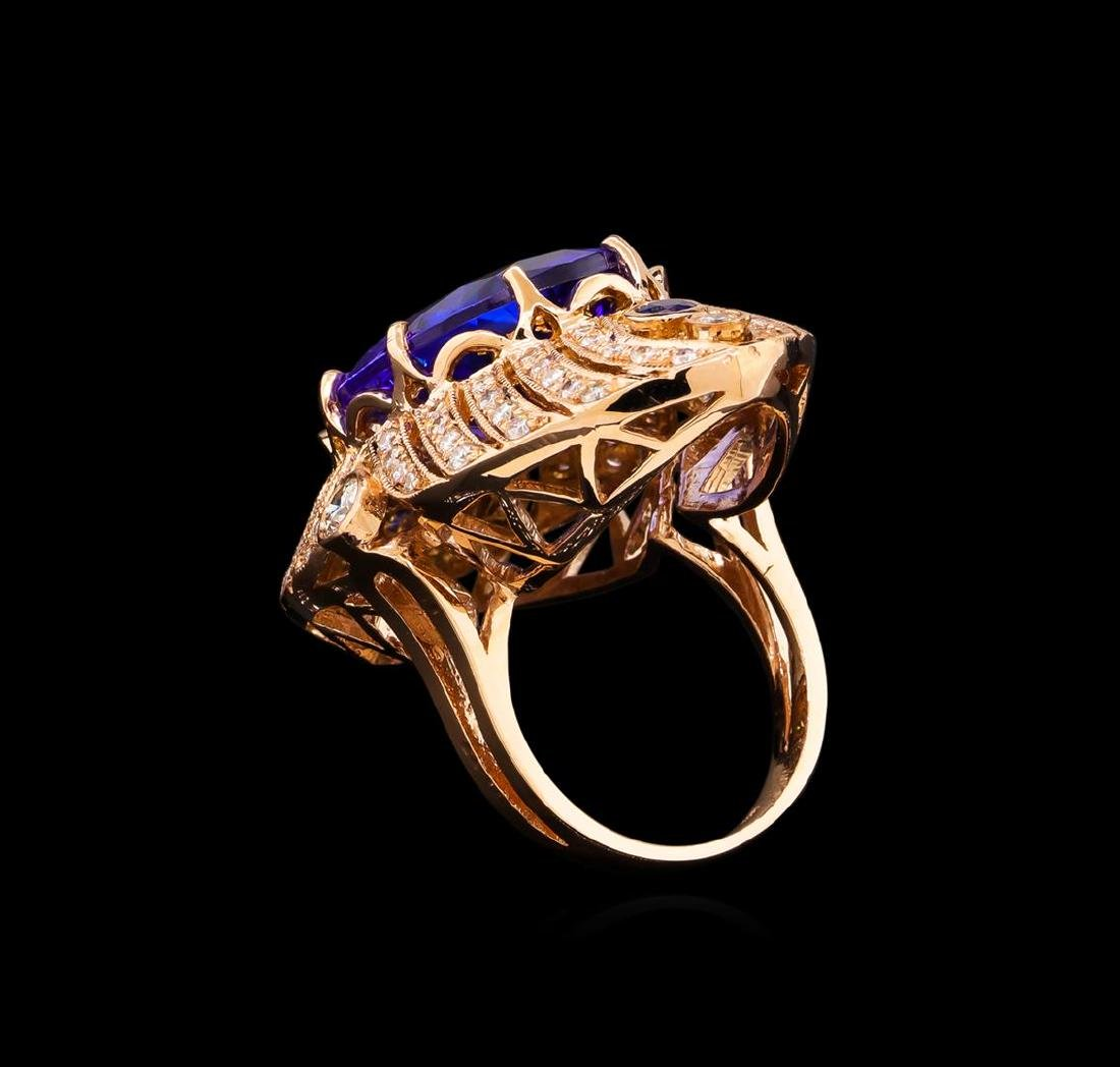 15.02 ctw Tanzanite, Sapphire and Diamond Ring - 14KT - 3