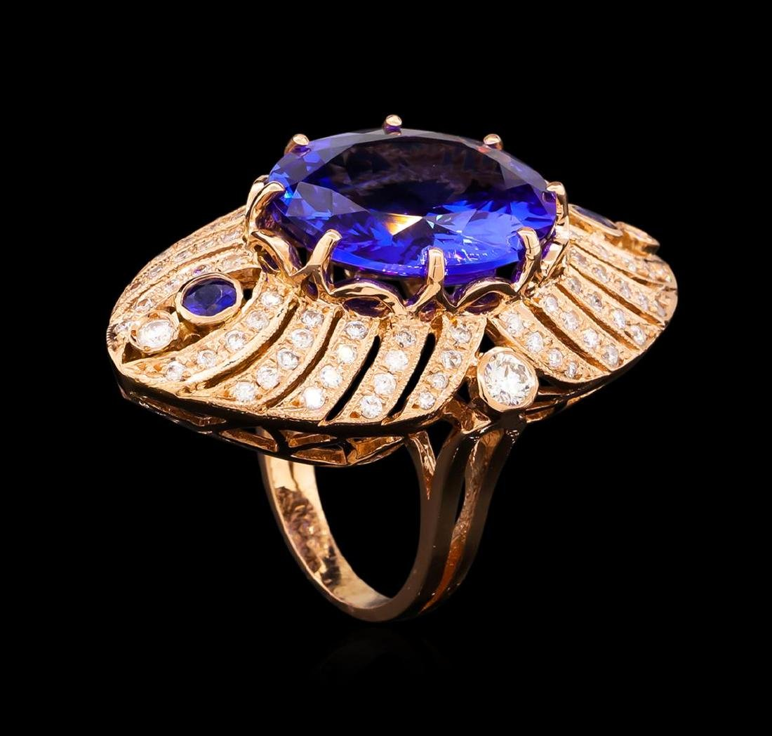 15.02 ctw Tanzanite, Sapphire and Diamond Ring - 14KT - 4