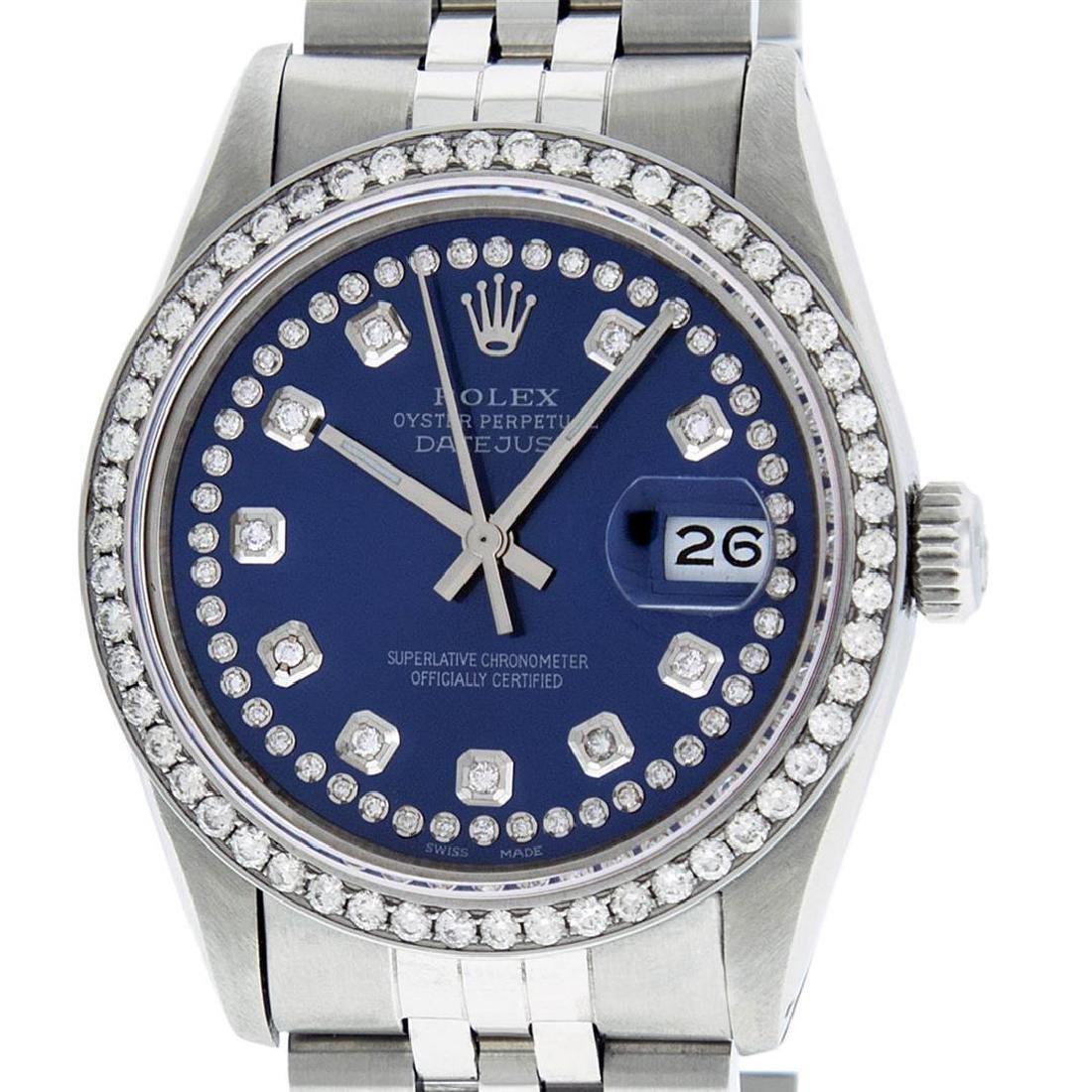 Rolex Mens Stainless Steel Blue String Diamond 36MM