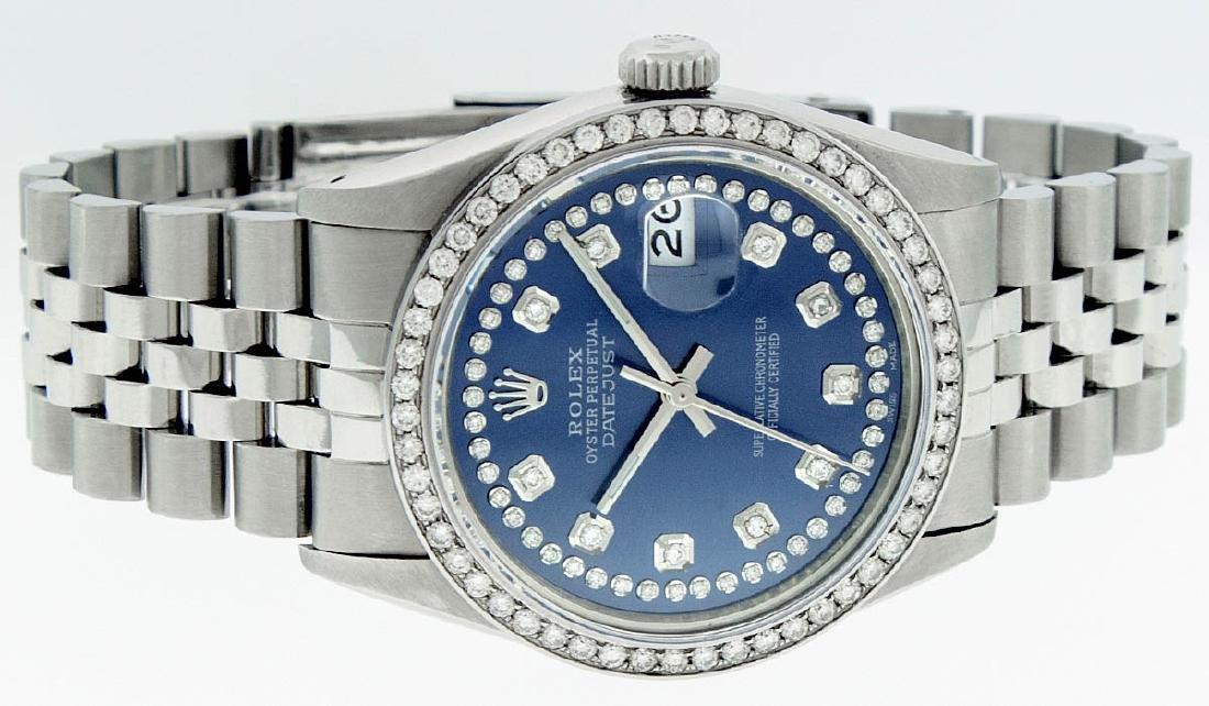 Rolex Mens Stainless Steel Blue String Diamond 36MM - 3