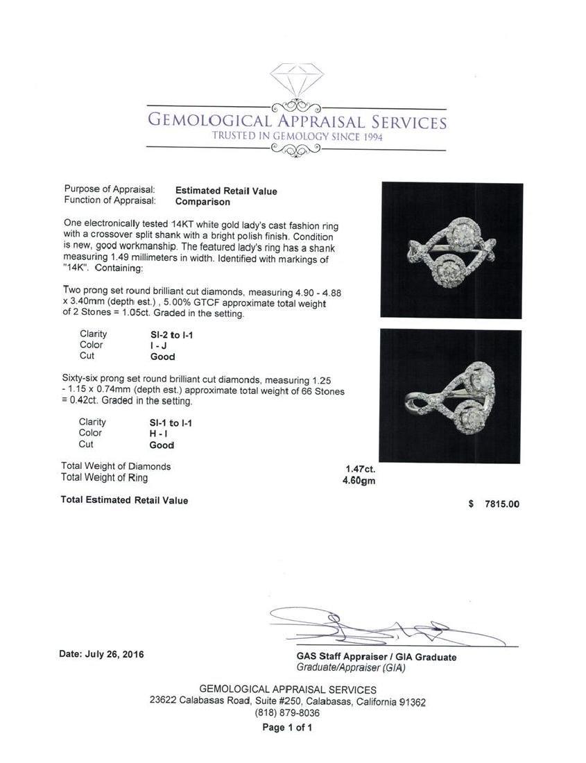 1.47 ctw Diamond Ring - 14KT White Gold - 5