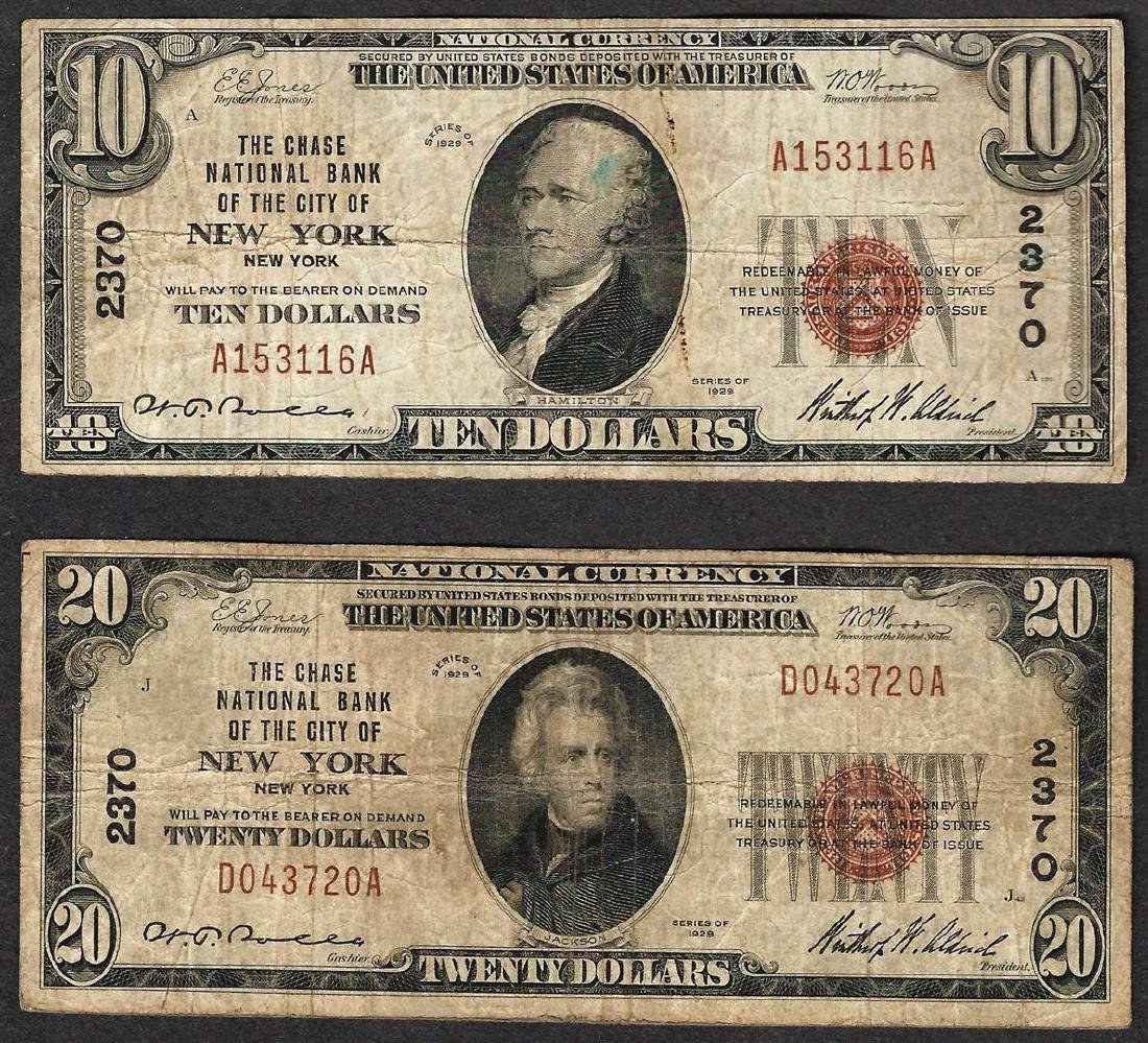 1929 $10 & $20 New York New York National Currency Note