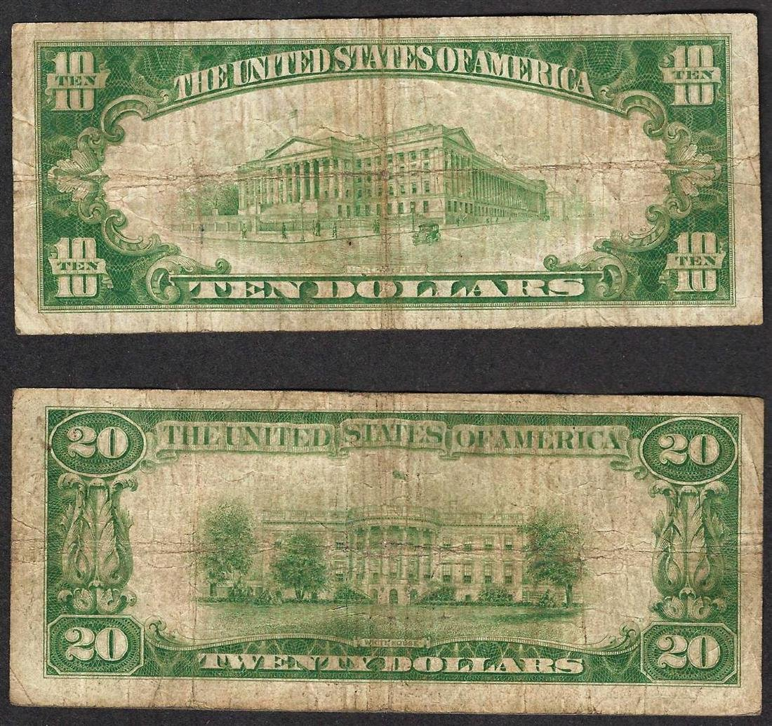 1929 $10 & $20 New York New York National Currency Note - 2