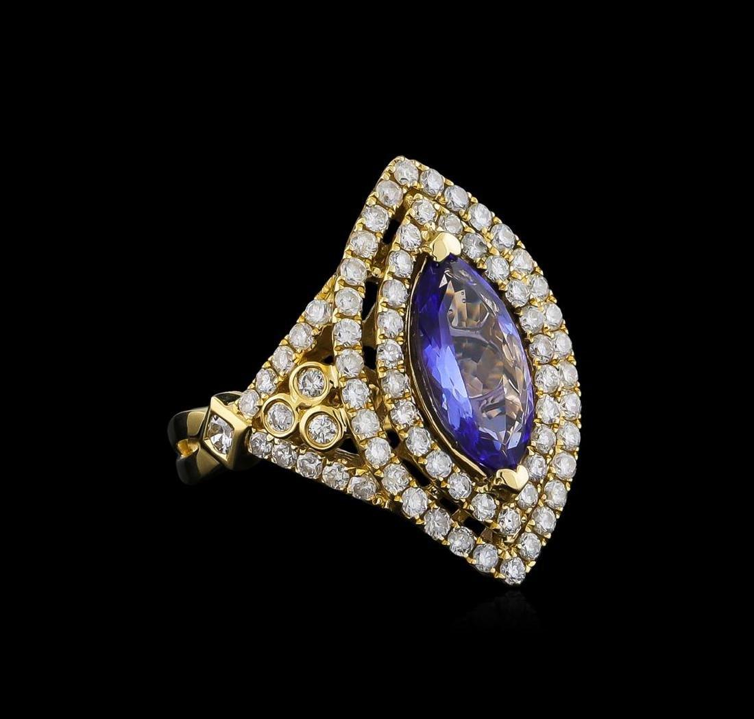 14KT Yellow Gold 2.45 ctw Tanzanite and Diamond Ring