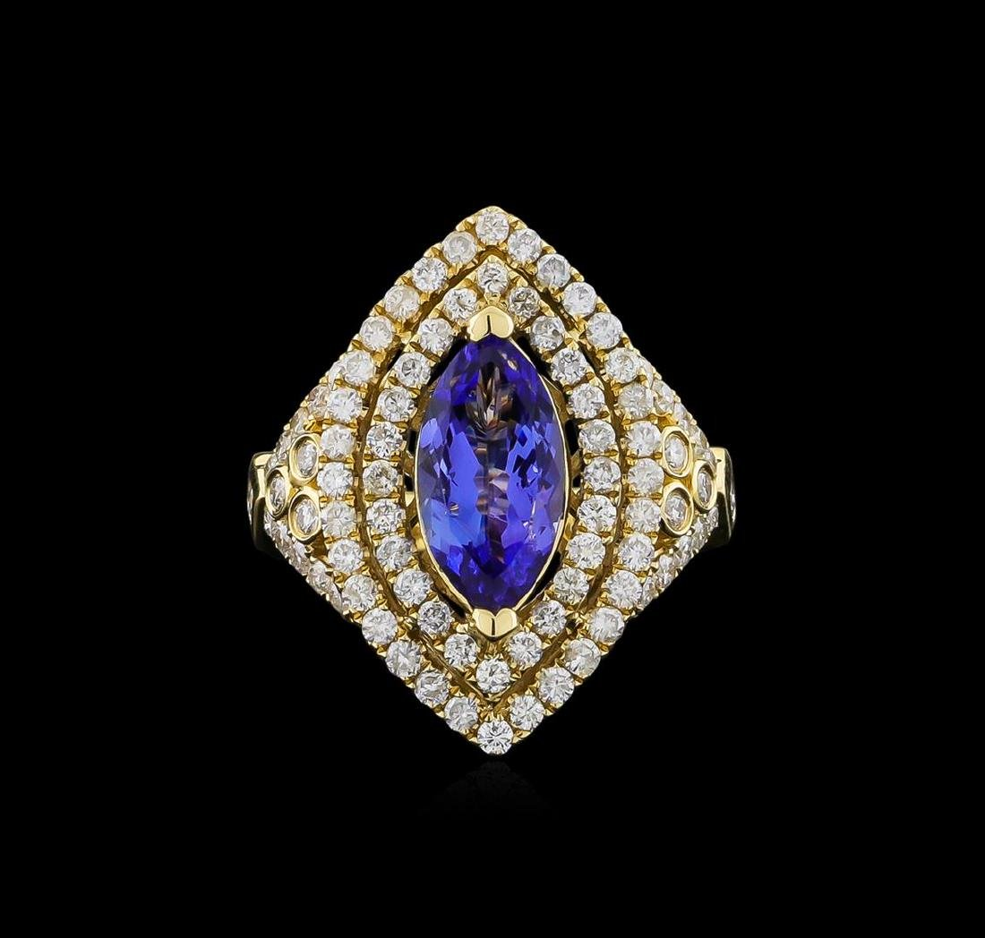 14KT Yellow Gold 2.45 ctw Tanzanite and Diamond Ring - 2