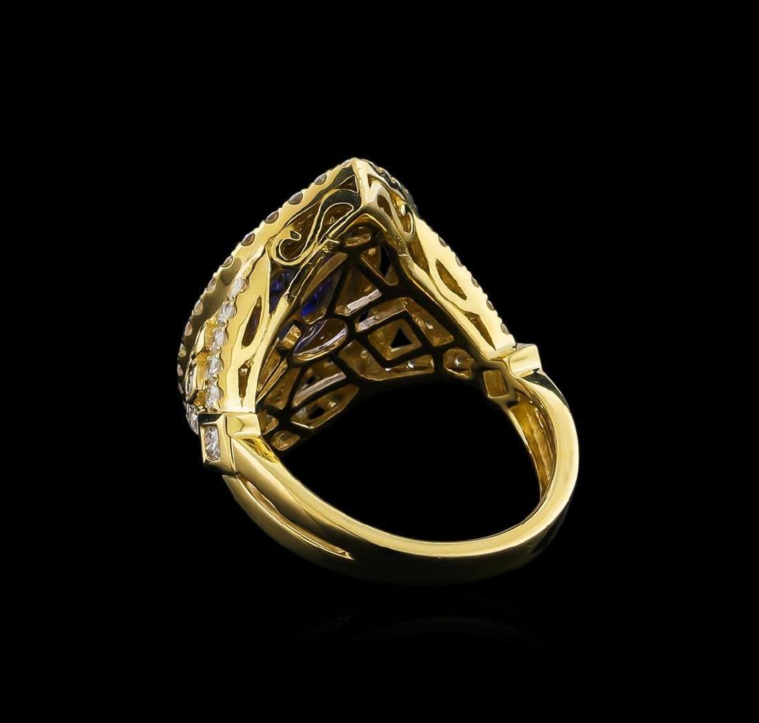 14KT Yellow Gold 2.45 ctw Tanzanite and Diamond Ring - 3