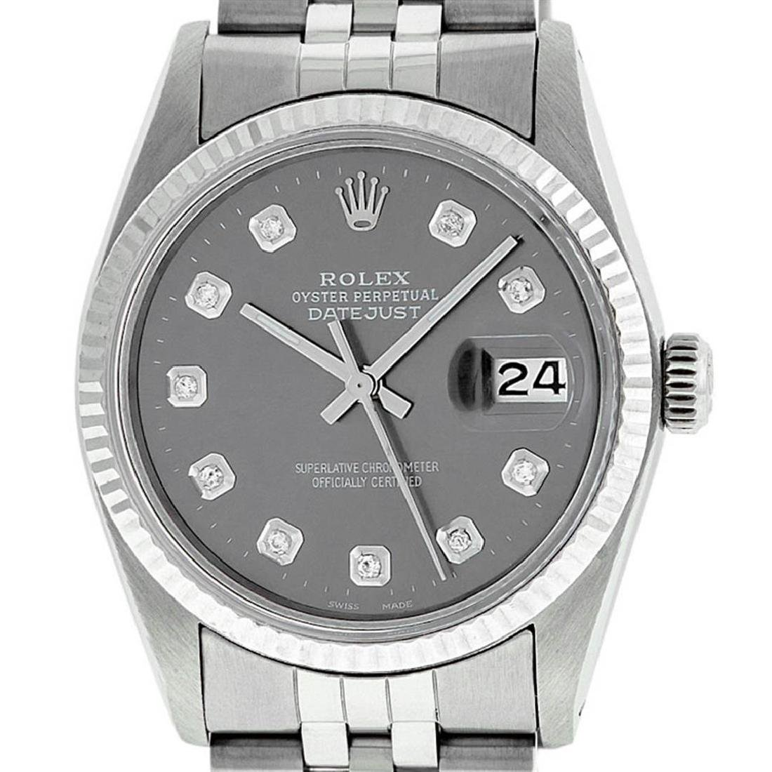 Rolex Mens Stainless Steel Slate Grey Diamond 36MM