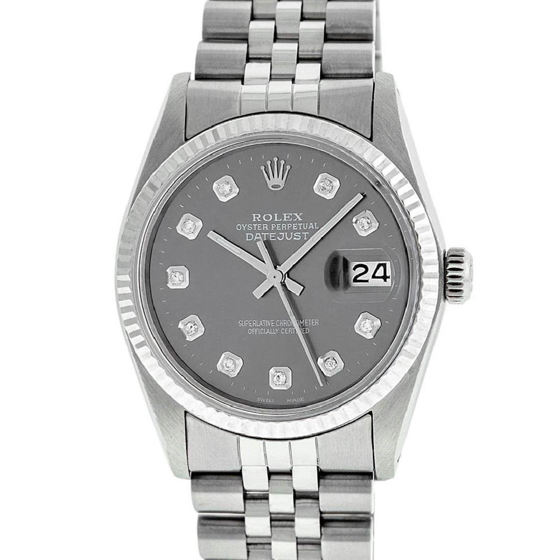 Rolex Mens Stainless Steel Slate Grey Diamond 36MM - 2