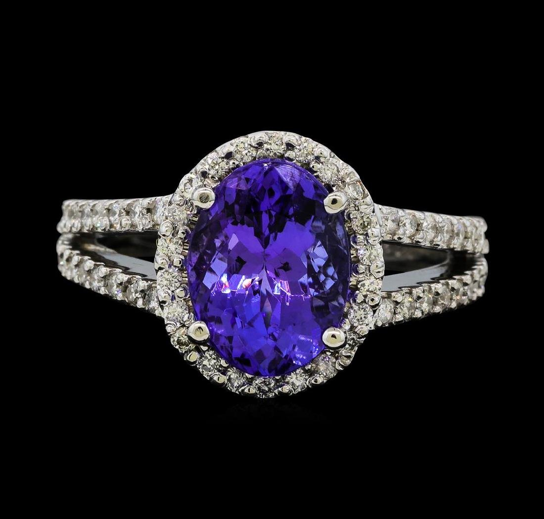 3.63 ctw Tanzanite and Diamond Ring - 14KT White Gold - 2