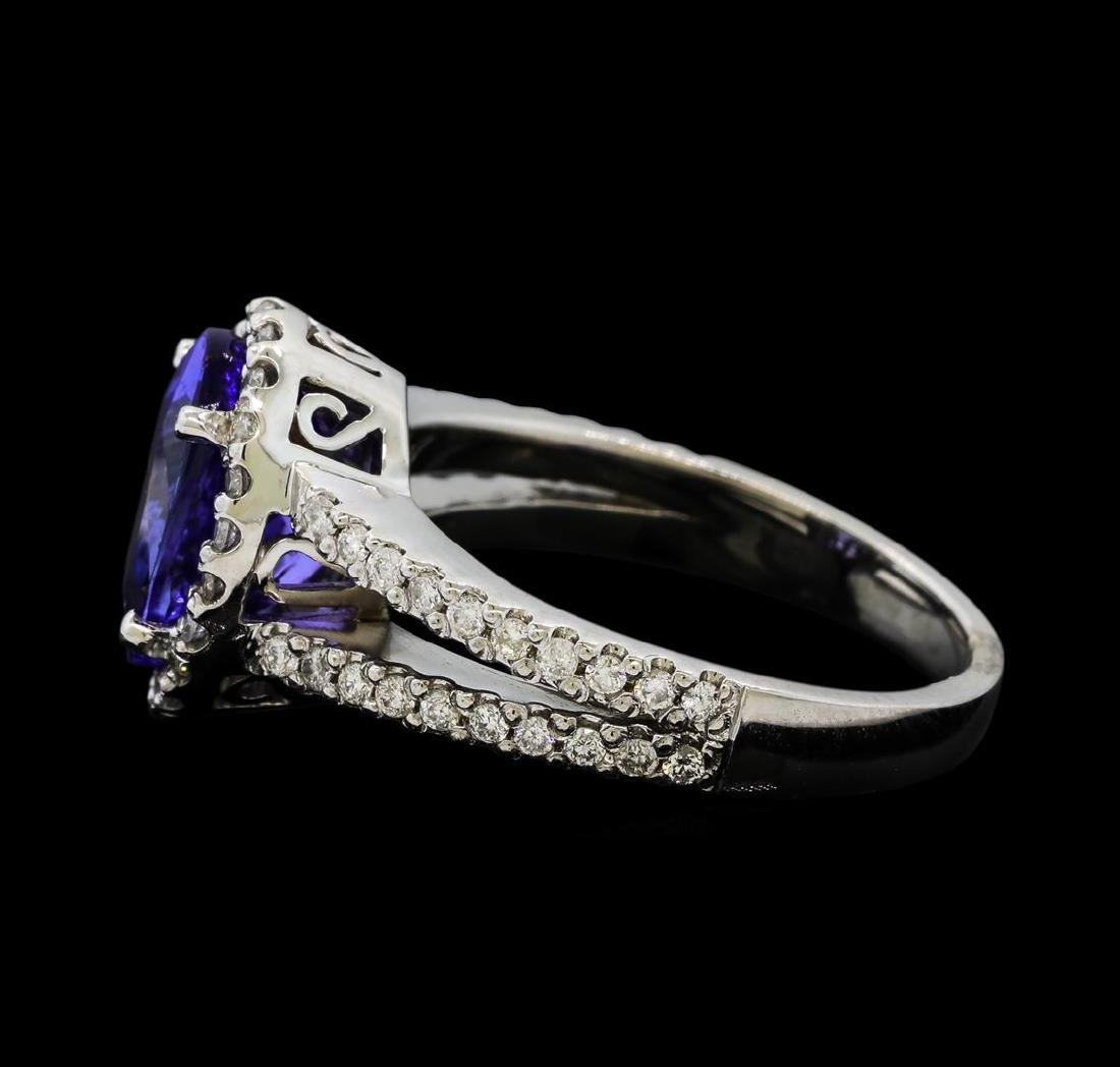 3.63 ctw Tanzanite and Diamond Ring - 14KT White Gold - 3