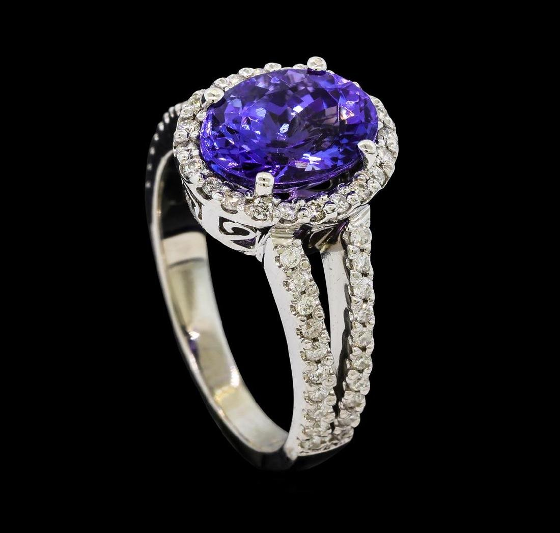 3.63 ctw Tanzanite and Diamond Ring - 14KT White Gold - 4