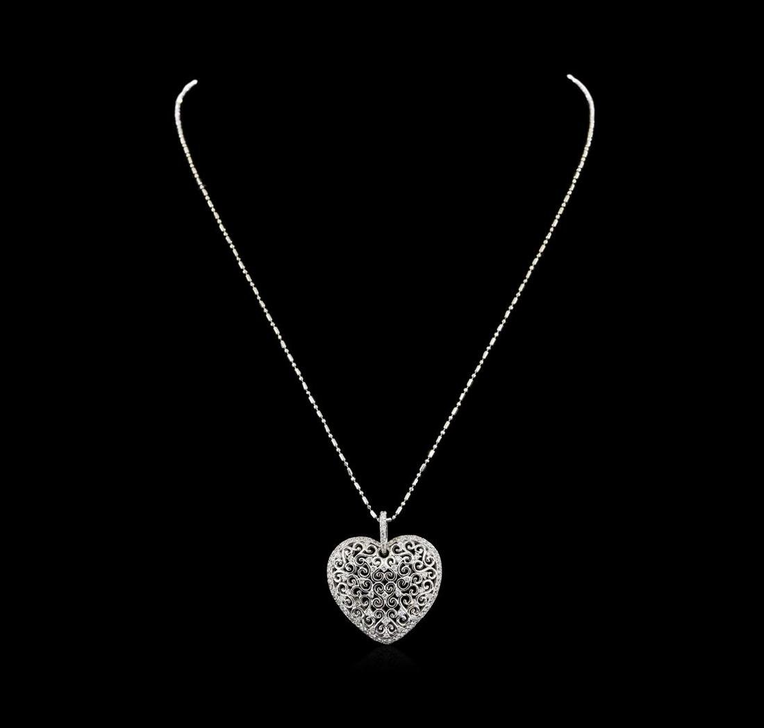 14KT White Gold 0.82 ctw Diamond Pendant With Chain - 2