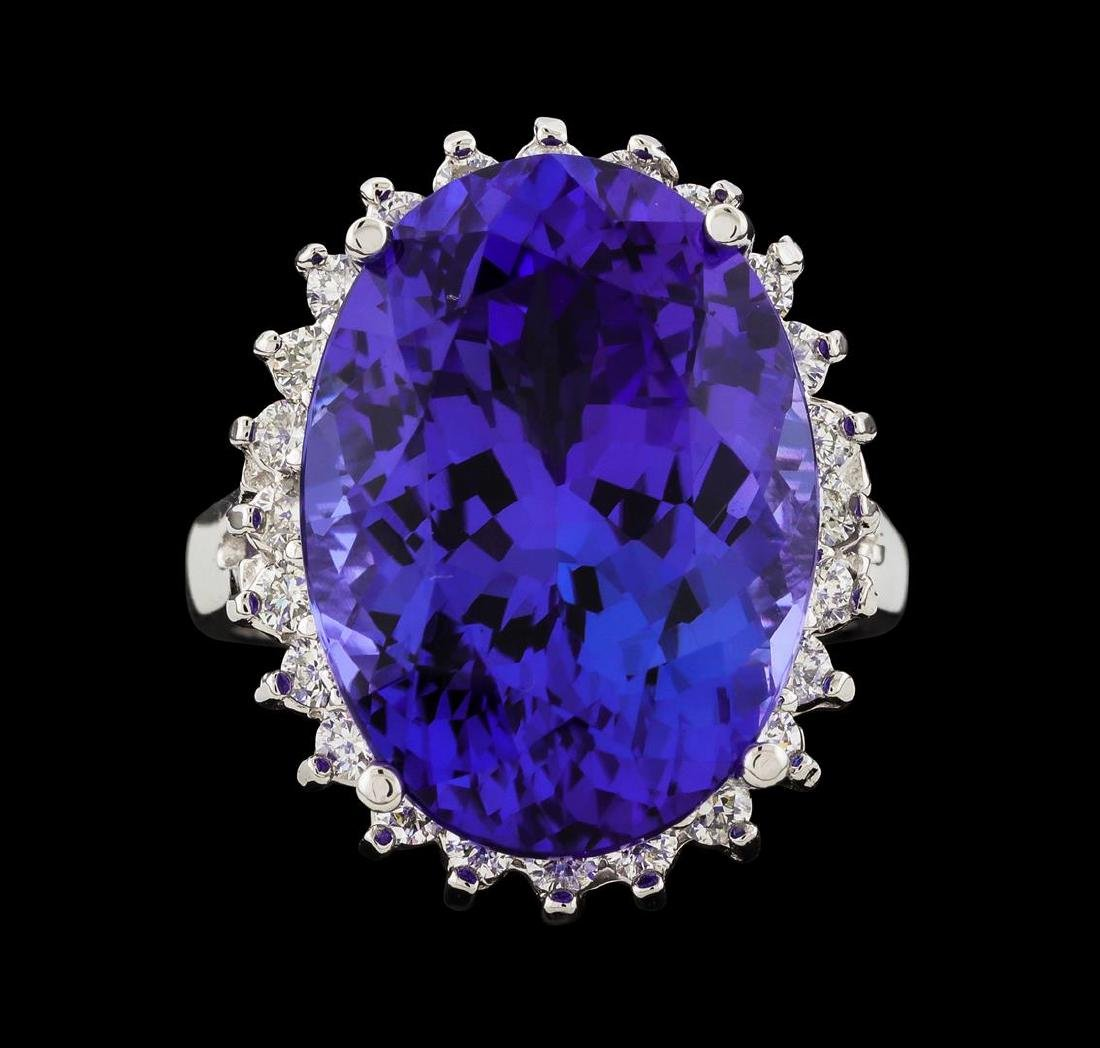 16.60 ctw Tanzanite and Diamond Ring - 14KT White Gold - 2