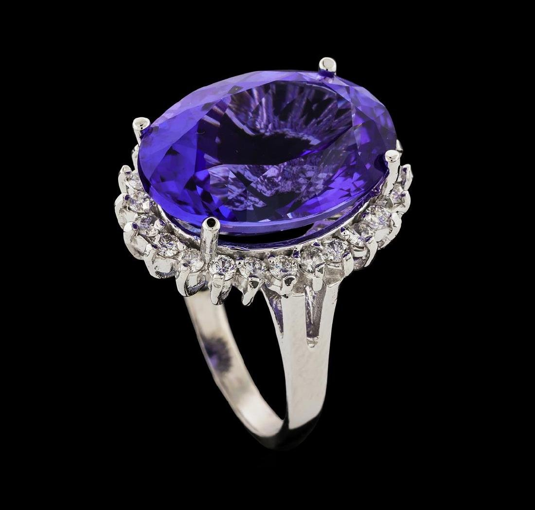 16.60 ctw Tanzanite and Diamond Ring - 14KT White Gold - 4