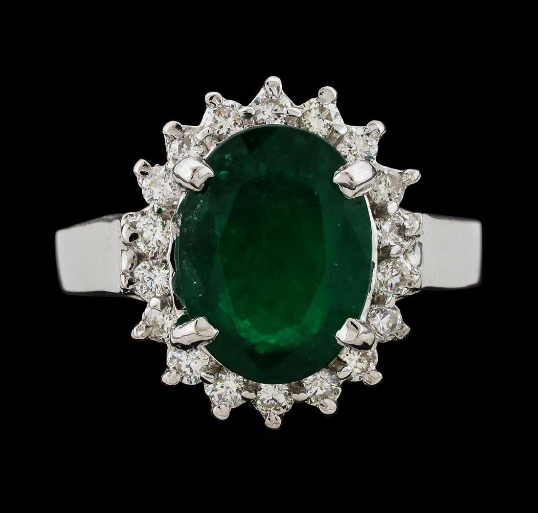 3.27 ctw Emerald and Diamond Ring - 14KT White Gold - 2