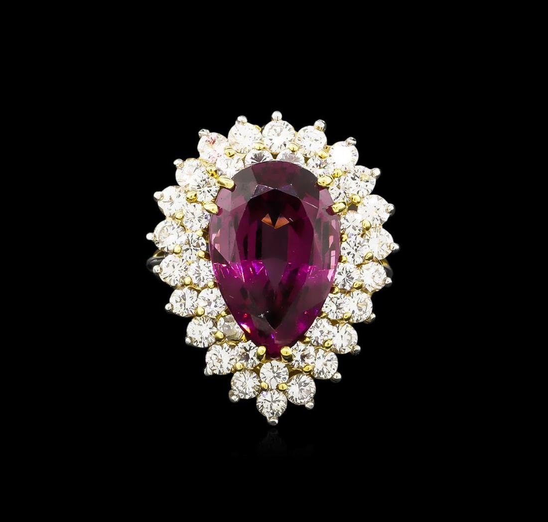 9.50 ctw Garnet and Diamond Ring - 18KT Two-Tone Gold - 2