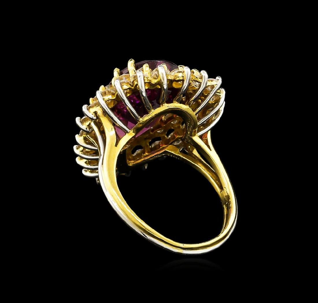 9.50 ctw Garnet and Diamond Ring - 18KT Two-Tone Gold - 3