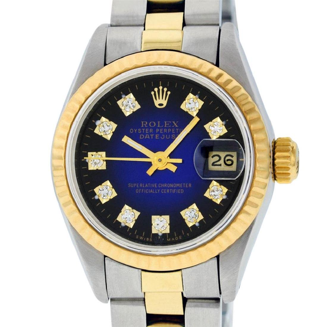 Rolex Ladies 2 Tone 14K Blue Vignette Diamond Datejust
