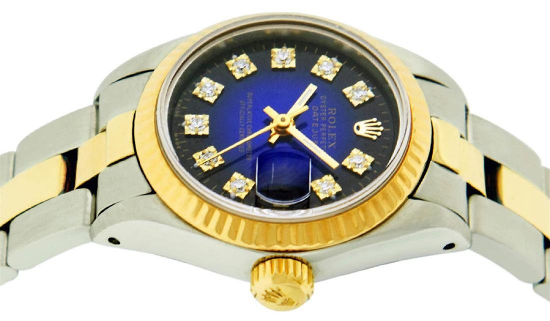 Rolex Ladies 2 Tone 14K Blue Vignette Diamond Datejust - 3