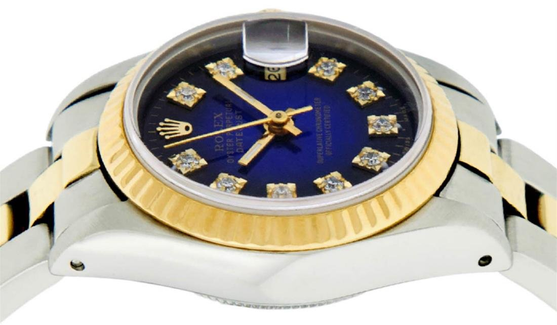 Rolex Ladies 2 Tone 14K Blue Vignette Diamond Datejust - 4