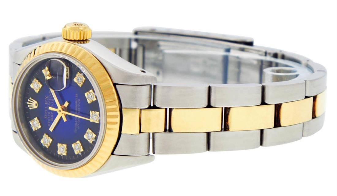 Rolex Ladies 2 Tone 14K Blue Vignette Diamond Datejust - 6