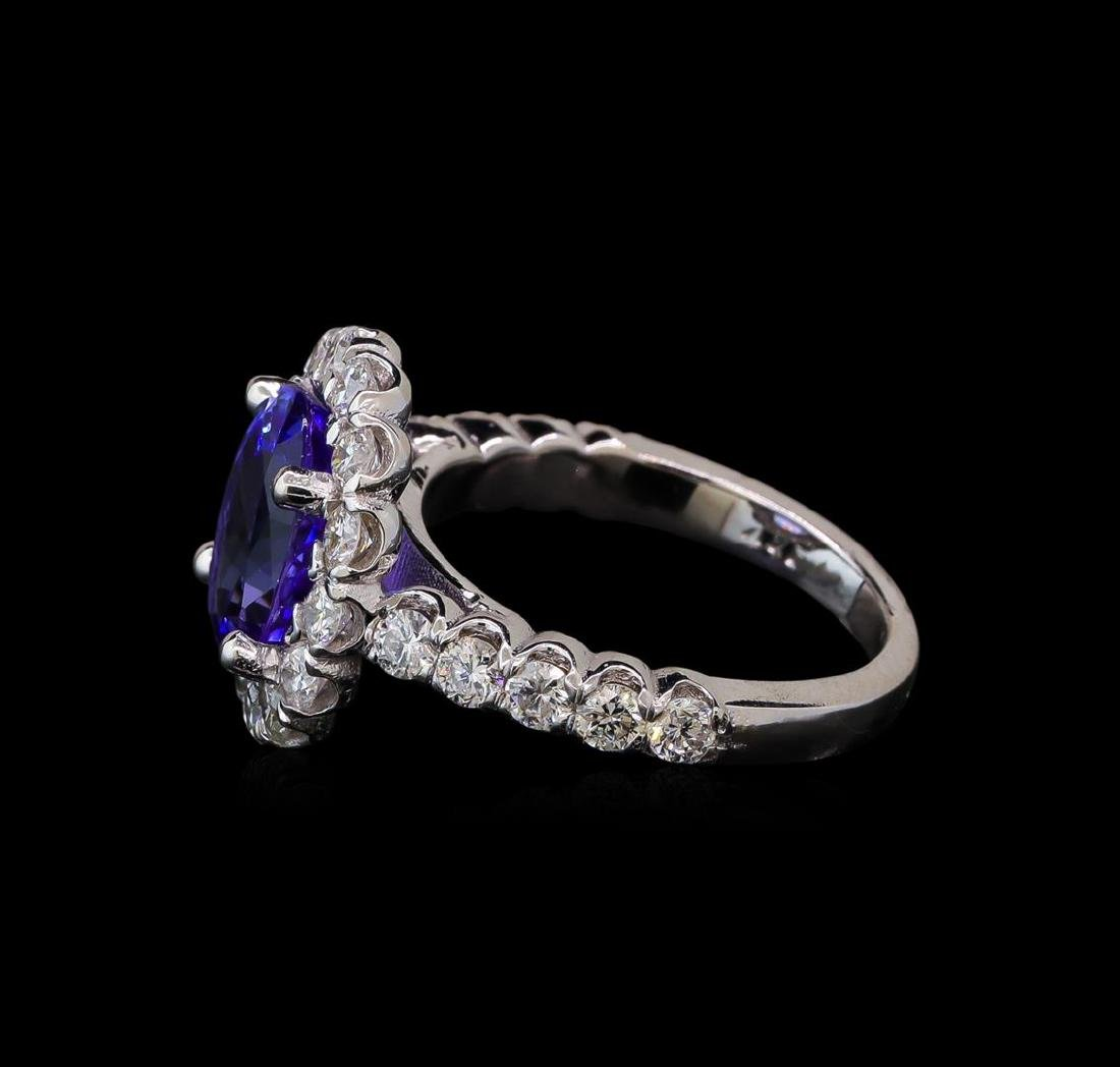 3.27 ctw Tanzanite and Diamond Ring - 14KT White Gold - 3