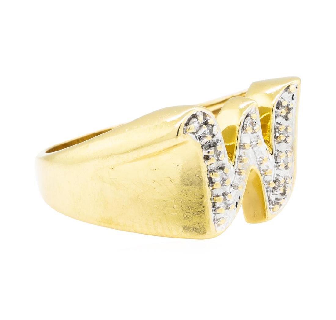 "0.05 ctw Diamond ""W"" Ring - 14KT Yellow Gold"