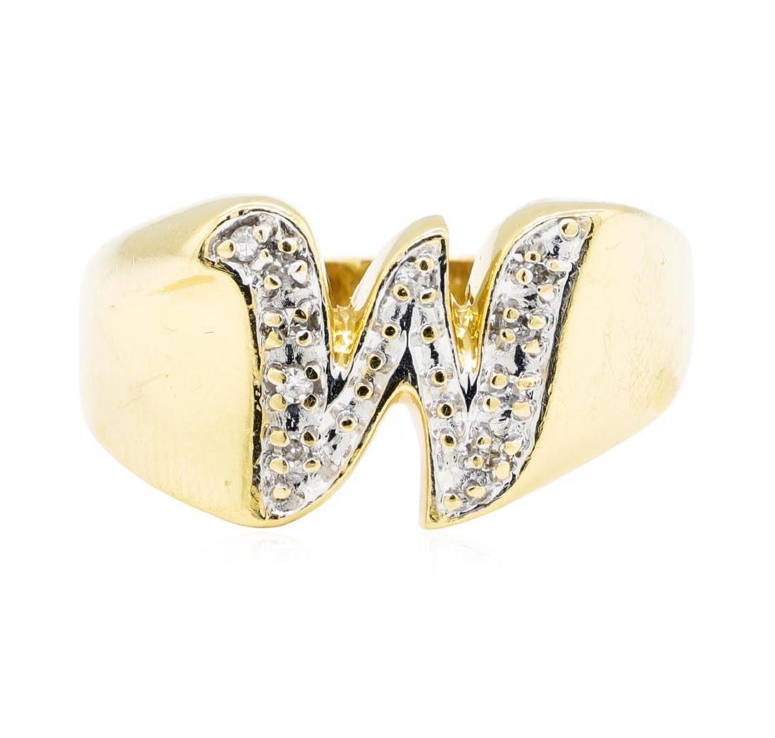 "0.05 ctw Diamond ""W"" Ring - 14KT Yellow Gold - 3"