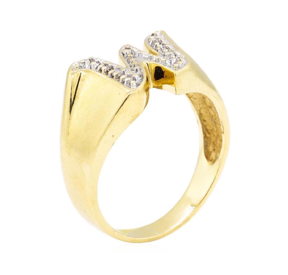 "0.05 ctw Diamond ""W"" Ring - 14KT Yellow Gold - 4"