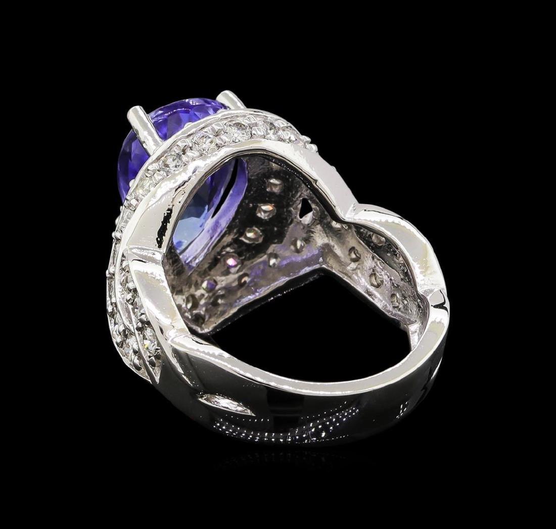 14KT White Gold 3.10 ctw Tanzanite and Diamond Ring - 3