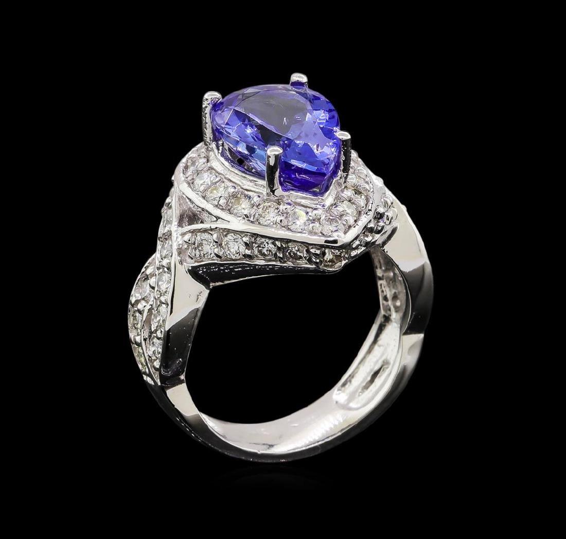 14KT White Gold 3.10 ctw Tanzanite and Diamond Ring - 4