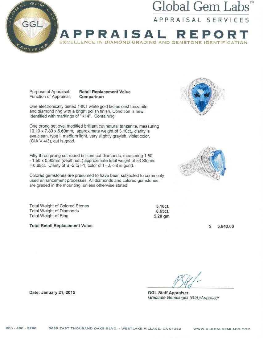 14KT White Gold 3.10 ctw Tanzanite and Diamond Ring - 5