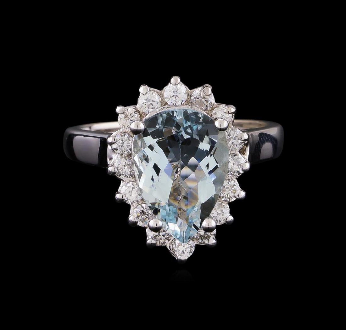 2.52 ctw Aquamarine and Diamond Ring - 14KT White Gold - 2