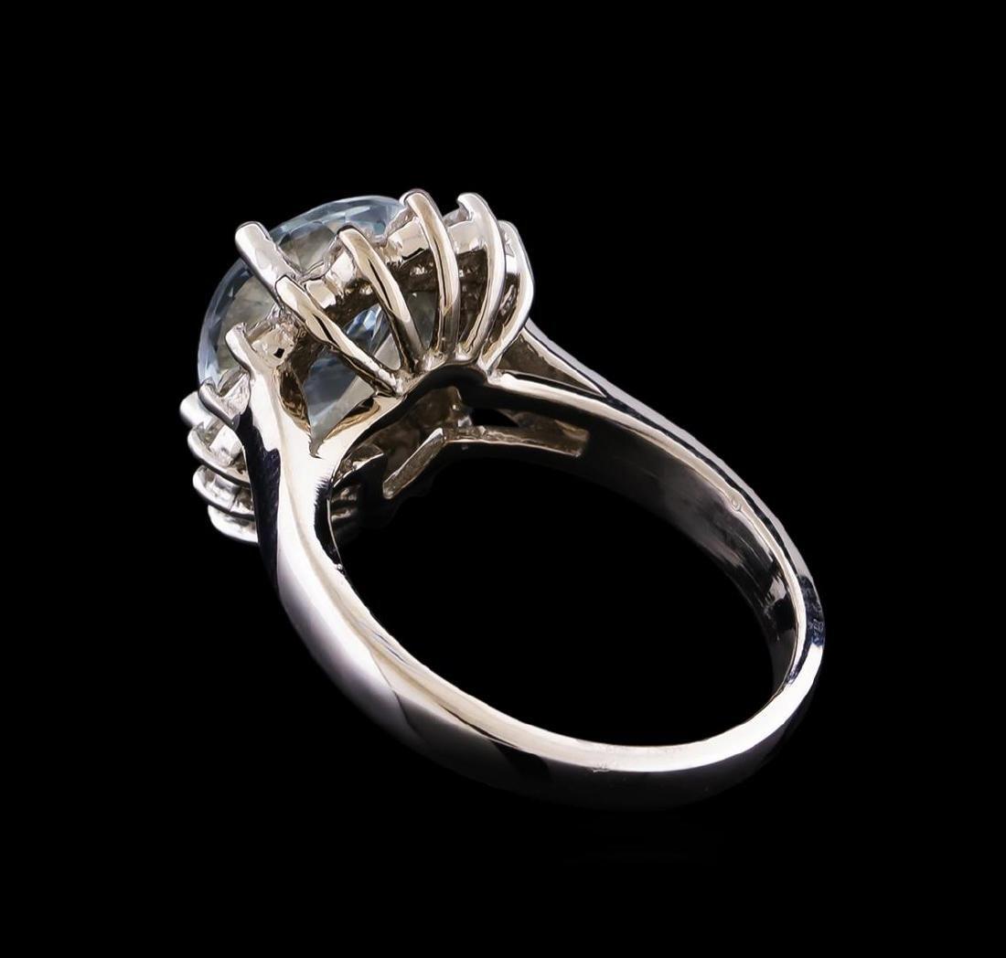 2.52 ctw Aquamarine and Diamond Ring - 14KT White Gold - 3