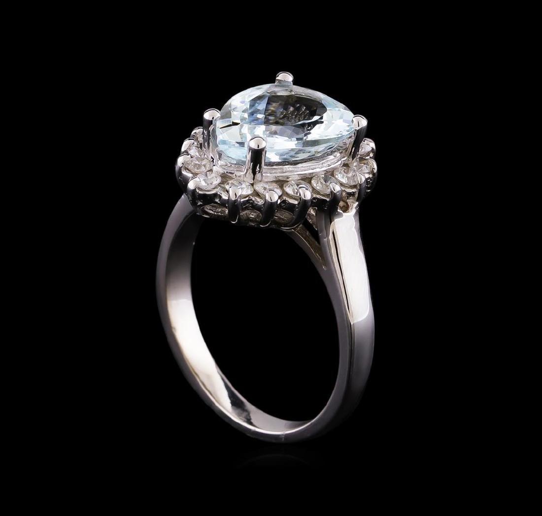 2.52 ctw Aquamarine and Diamond Ring - 14KT White Gold - 4