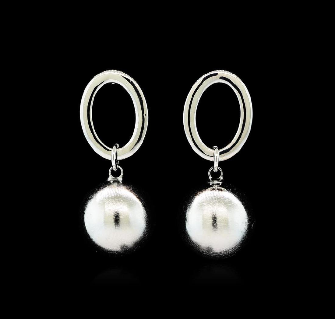 14mm Satin Bead and Glossy Post Earrings - Rhodium