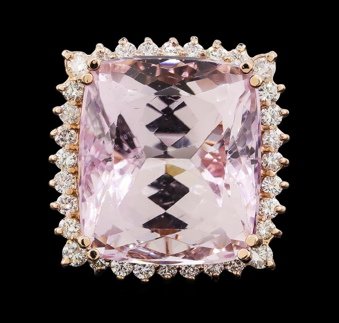 34.86 ctw Kunzite and Diamond Ring - 14KT Rose Gold - 2