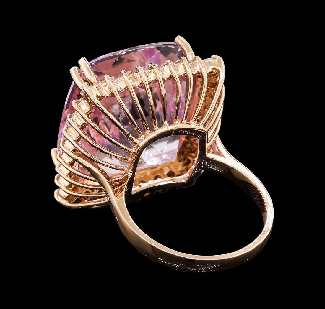 34.86 ctw Kunzite and Diamond Ring - 14KT Rose Gold - 3